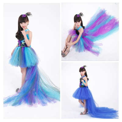 POSH DREA Real Photo Peacock Girl Dress Feather Peacock Kids Children Show Clothing Girl Tutu Dress with Long Tailed Peacock peacock feather floor antislip bath mat