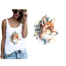 Iron Heat Transfer Patches Sticker Applique Wreath Fox Patch for Clothing DIY Stickers on Clothes for T-shirts Washable Badges iron on patches big skull punk heat transfers for clothes stickers military badges diy t shirt applique tops print washable e