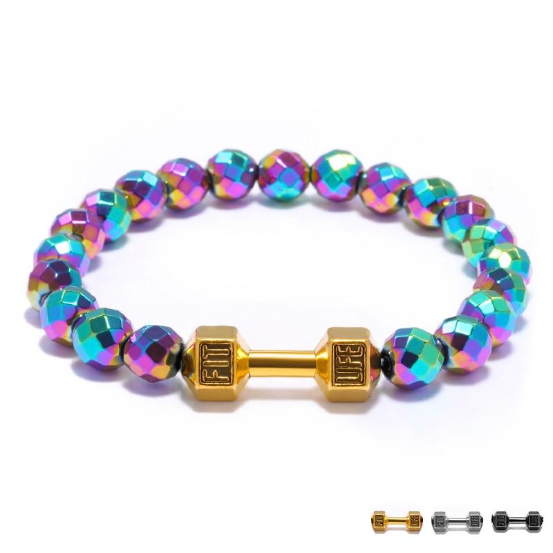 FIT LIFE Print Barbell Beaded Bracelet for Fashion Gym Girls Rainbow Color Geometric Bead Elastic Rope Strand Bracelet Female