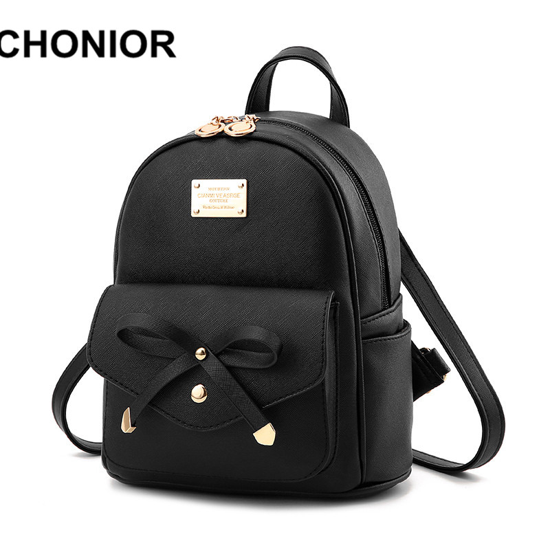 2017 New Fashion Backpacks For Teenage Girls Women Black Pu Leather School Bags Small Backpack Mochilas