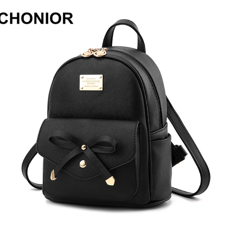 e36449d9717 2017 New Fashion Backpacks For Teenage Girls Women Black Pu Leather School  Bags Small Backpack Mochilas Feminina