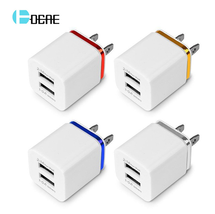 10pcs 2 USB Charger 5V 2.1A EU / US Plug USB adapter Wall Mobile Phone Charger for iPhone 7 iPad Tablet Samsung Xiaomi Charging