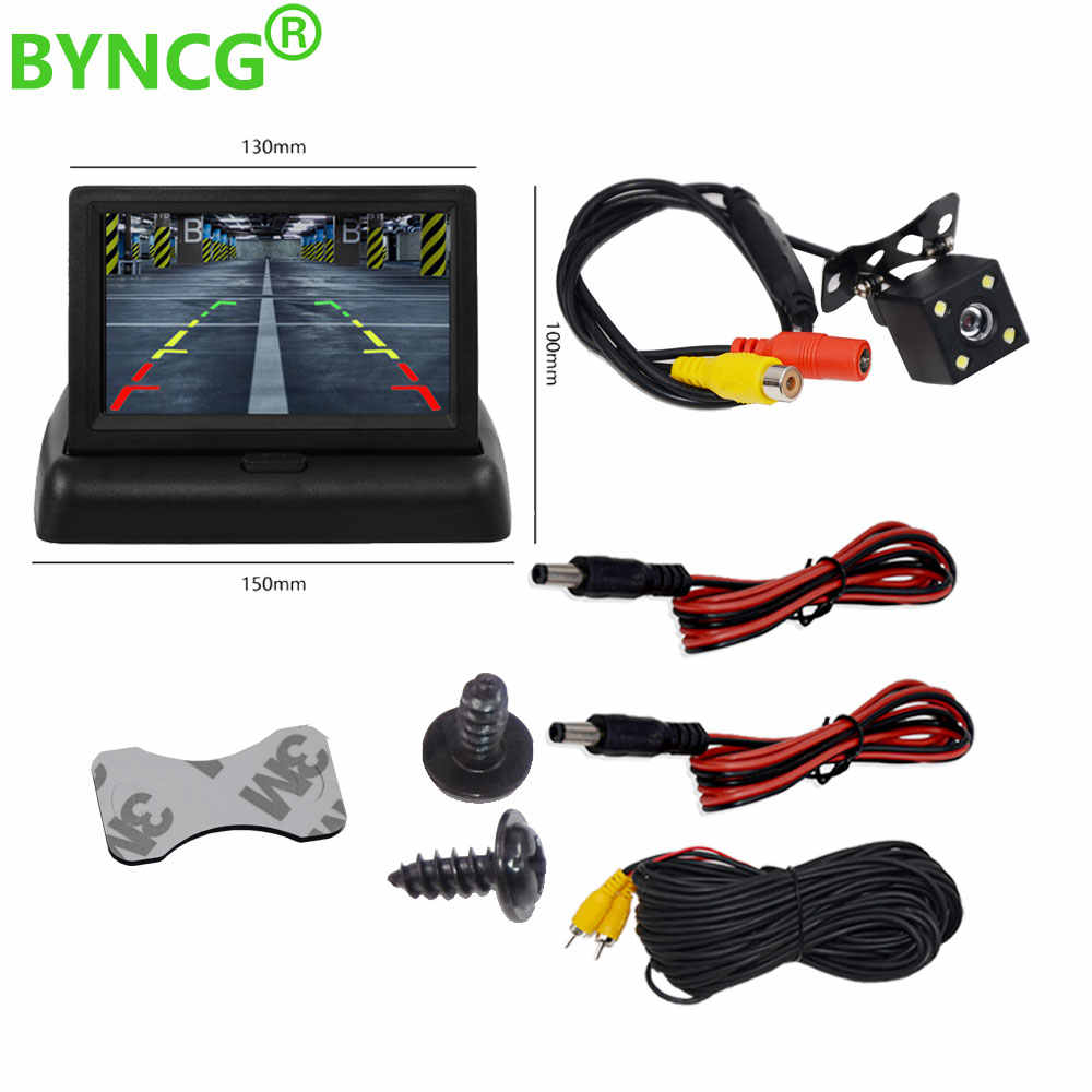 Parkir Moniteur Voiture Auto Monitor LED Malam Visi Mobil CCD Rear View Camera dengan 4.3 Inci Mobil Video Foldable Monitor kamera