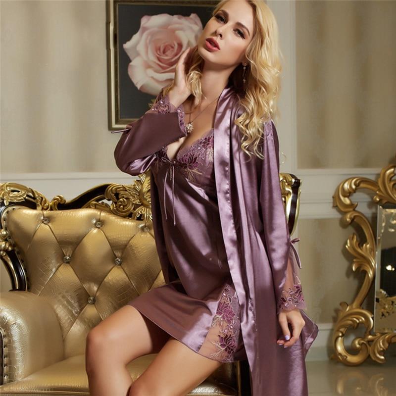 Xifenni Faux Silk Bathrobe Woman Two-Piece Sleepwear Female Sexy V-Neck Embroidery Robes Nightdress Sets Ancient Purple F1528