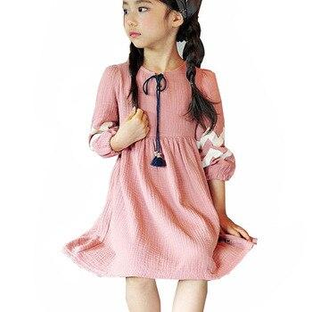 b3b94886d Estilo coreano borla primavera otoño bebé niñas vestido de algodón de los  niños traje de la princesa 3-12 años las niñas vintage fiesta Vestidos