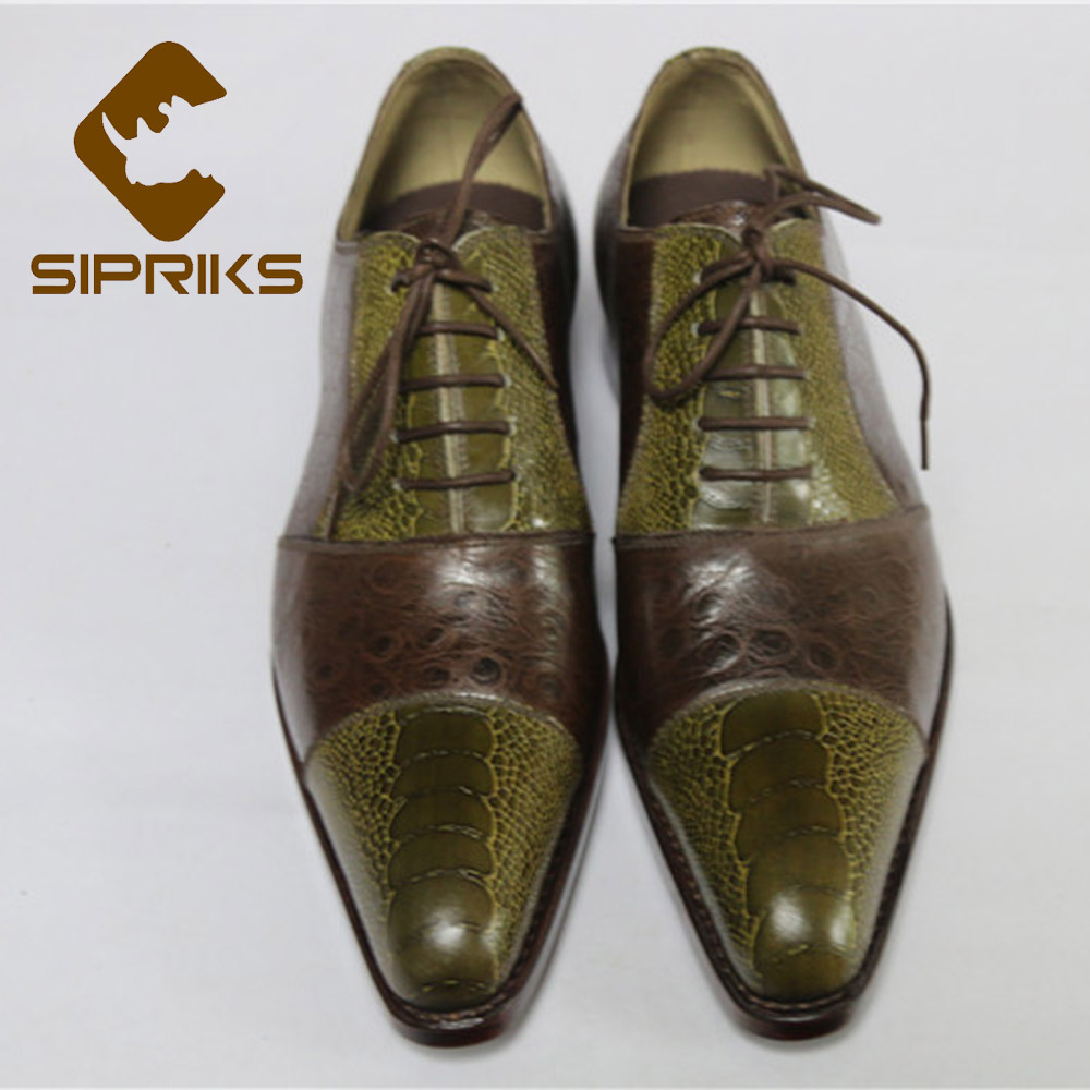 Sipriks Men s Cap toe Dress Shoes Pointed Toe Oxfords Boss Printed Ostrich Skin Business Shoes