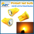 Super Brightness Free Shipping 100Pcs T10 194 W5W 555 LED 6.3V Pinball led Non Ghost Amber For Stern Pinball Game Machine