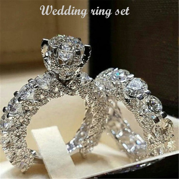 925 sterling silver luxury wedding ring set for women bride ladies engagement anniversary gift brand wholesale jewelry r4995-in Rings from Jewelry & Accessories on Aliexpress.com | Alibaba Group