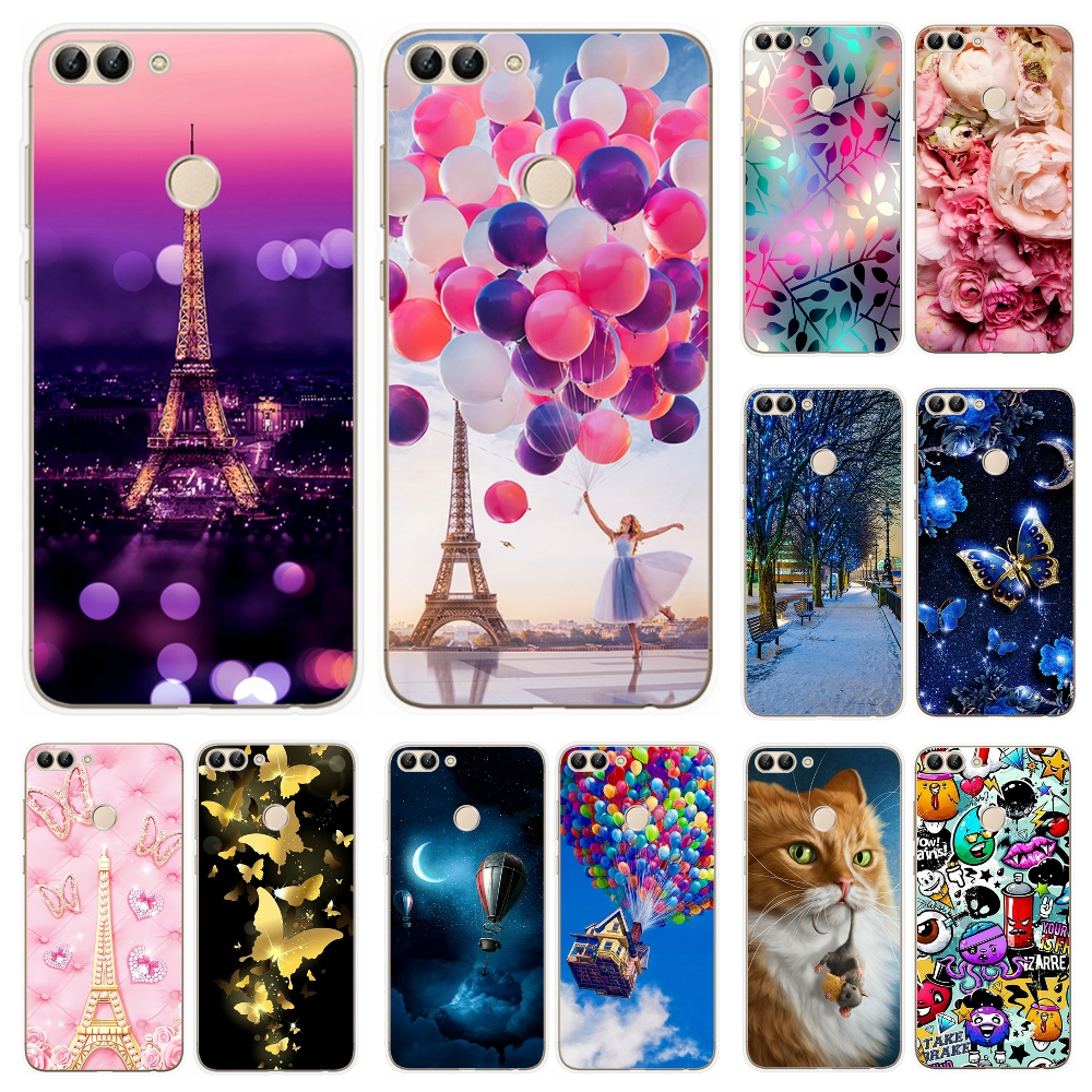 premium selection e8c4d 9e59c Phone Case For Huawei P Smart 5.65Inch Printing Pattern TPU Protective Soft  Silicone Cover Case For Huawei Psmart Phone Cover Coque
