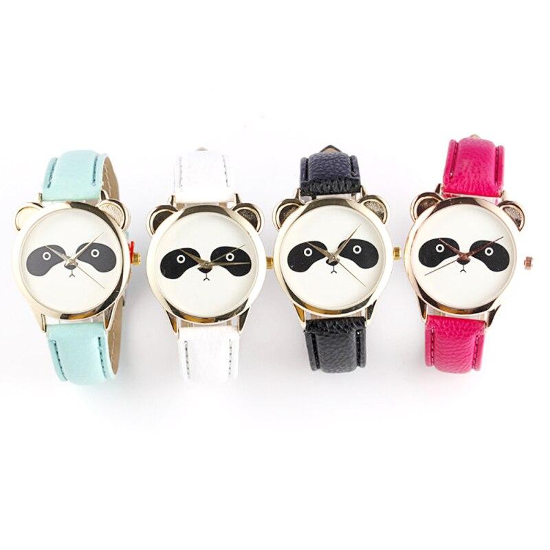 Woman Quartz wristwatch Ladies Simple Cute Panda Watches Girl Slim PU Leather Casual Sport Watches Leisure relogio feminino C