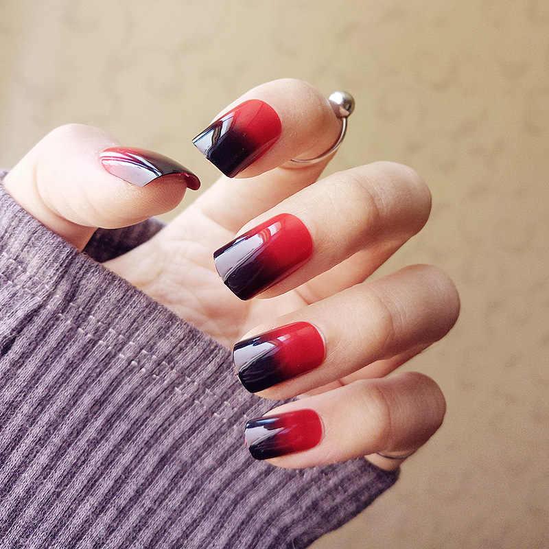 24 Puntas Ombre Cuadrado Uñas Falsas Adhesivo Rojo Negro Gradiente Brillo Falso Uñas Con Diseños De Prensa De Lujo En Uñas Medio