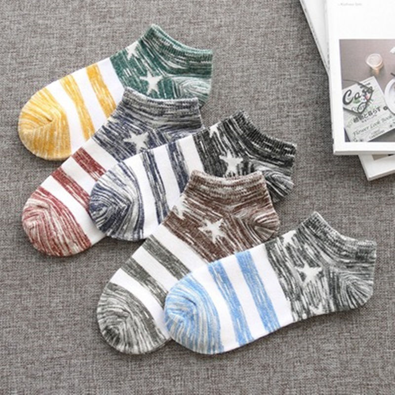 Men Korean Harajuku Cotton Bamboo   Socks   Men's Summer Deodorant Ankle   Socks   Spring Autumn High Quality Male   Socks   5 Pairs/lot