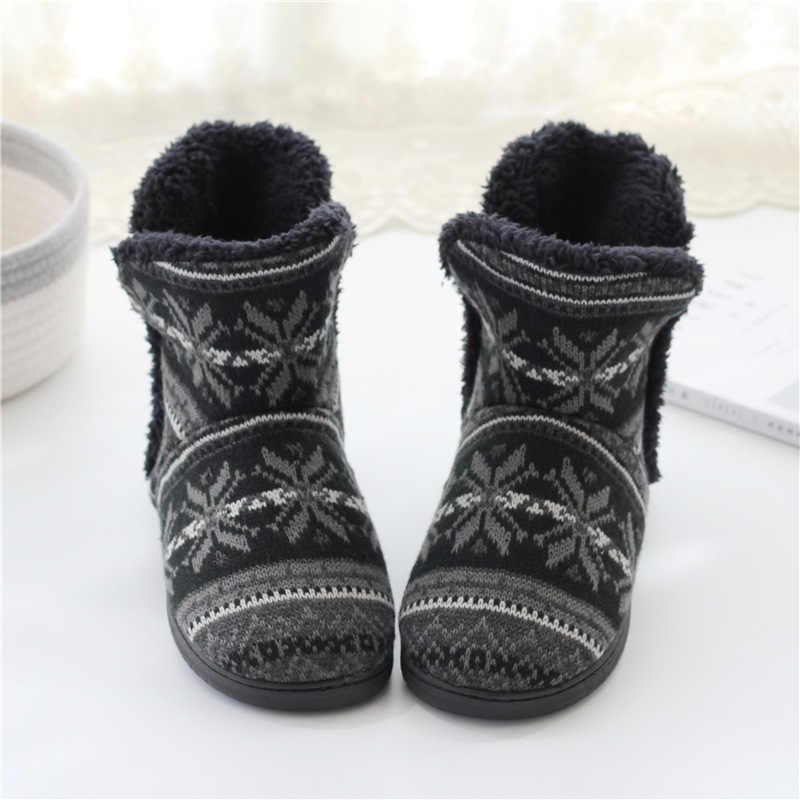 Suihyung Winter Warm Frauen Stiefel Gestrickte Jacquard Weiche Plüsch Hause Stiefeletten Große Größe Damen Innen Boden Schuhe Weibliche Botas