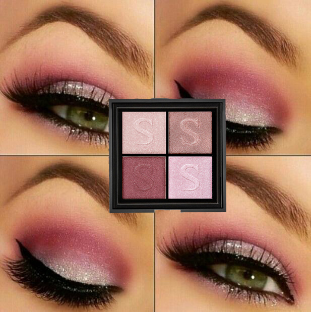 Professional 4 Colors Rose Wine Red Warm Color Eyeshadow -1277