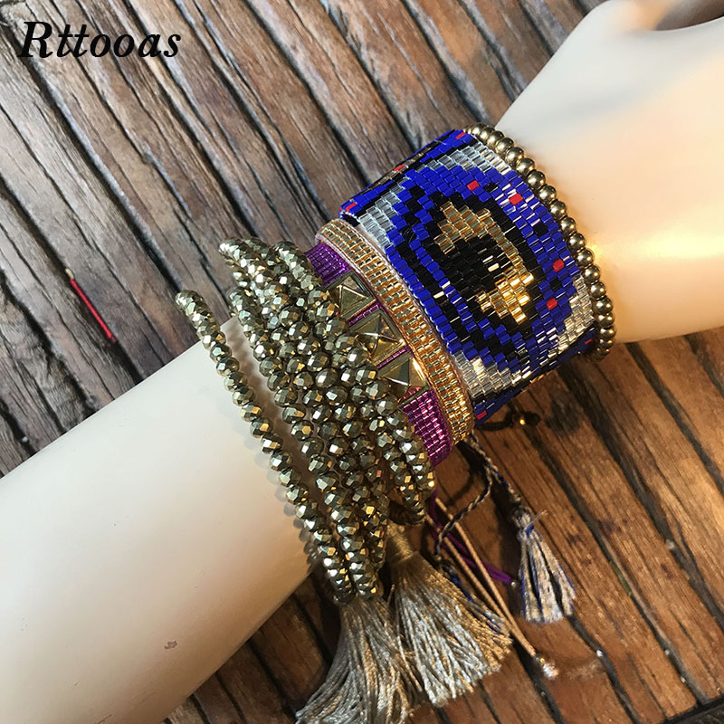 Rttooas Lucky Width Handmade Woven Evil Eye Bracelet Exquisite MIYUKI Crystal Bead Women Fashion Jewelry Accessories