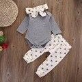 Осень хлопок 0-18 М Новорожденных малышей младенческой принцесса Сердце Девочка Младенческая Топ Рубашка + Брюки Брюки + оголовье Наряд Комплект Одежды