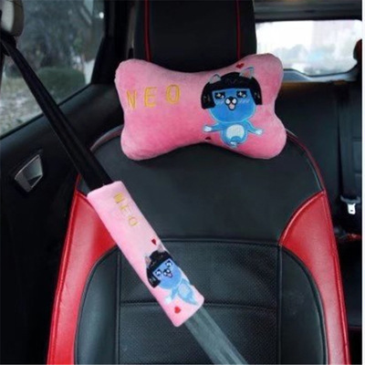 Short Plush Cartoon Cute Car Seat Belt Pad Car Neck Pillow Pink Red Yellow Girl Gift Car Cute Interior Decoration Duck Bear 2pcs Elegant In Smell