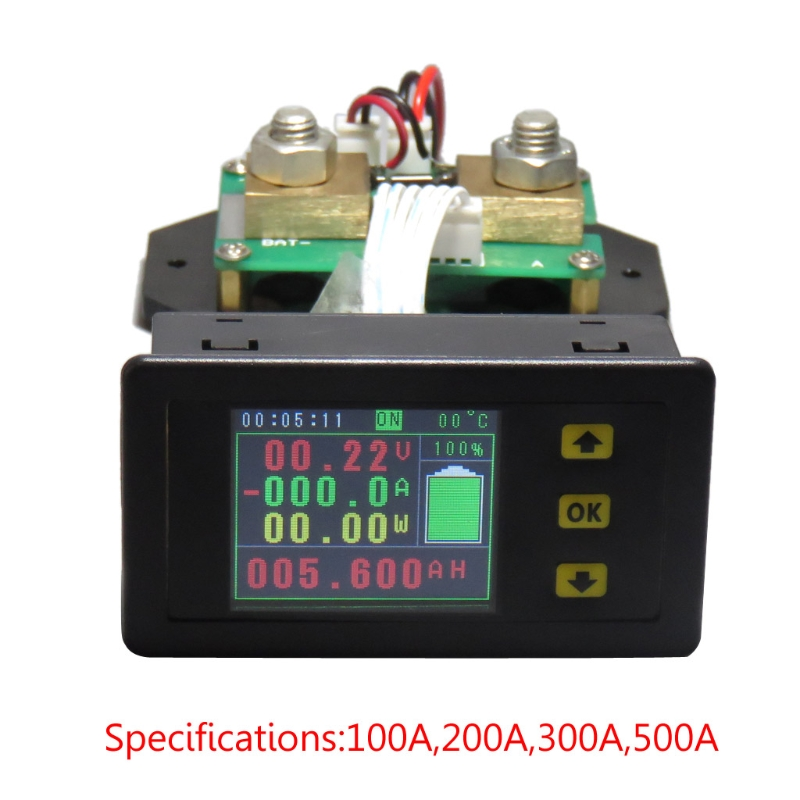 DC 120v 100A 200A 500A LCD Combo Meter Voltage current KWh Watt Meter 12v 24v 48v 96V Battery Capacity Power monitoring