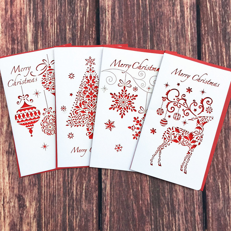 DoreenBeads Creative Paper Cutting Merry Christmas Cards Folding Xmas Blessing Card for New Year Christmas Gift Random Pattern 1box lot christmas gift christmas season organ folding christmas cards paper crafts scrapbooking cards gifts decoraiton