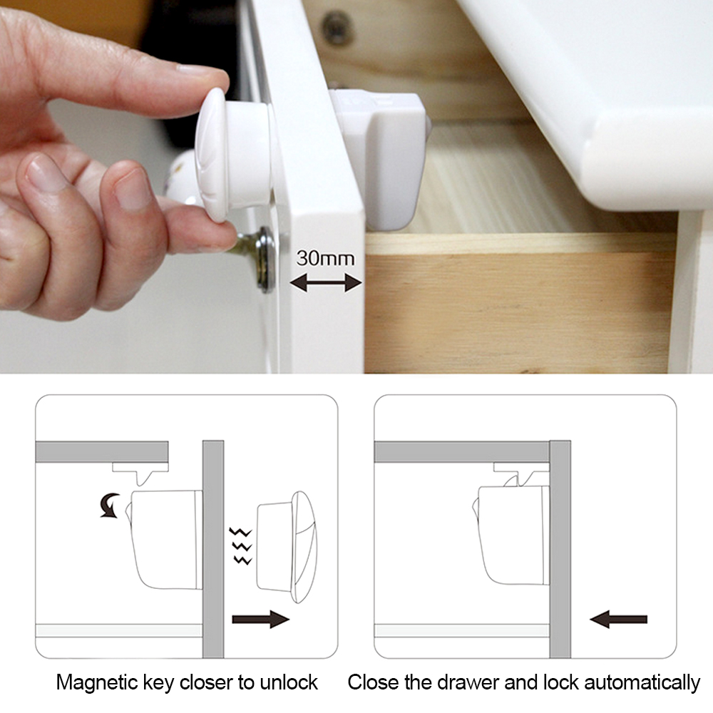 4pcs Baby Safety Child Lock Cabinet Children Protection Kids Magnetic Drawer Locker Security Cupboard Childproof Locks In Straps