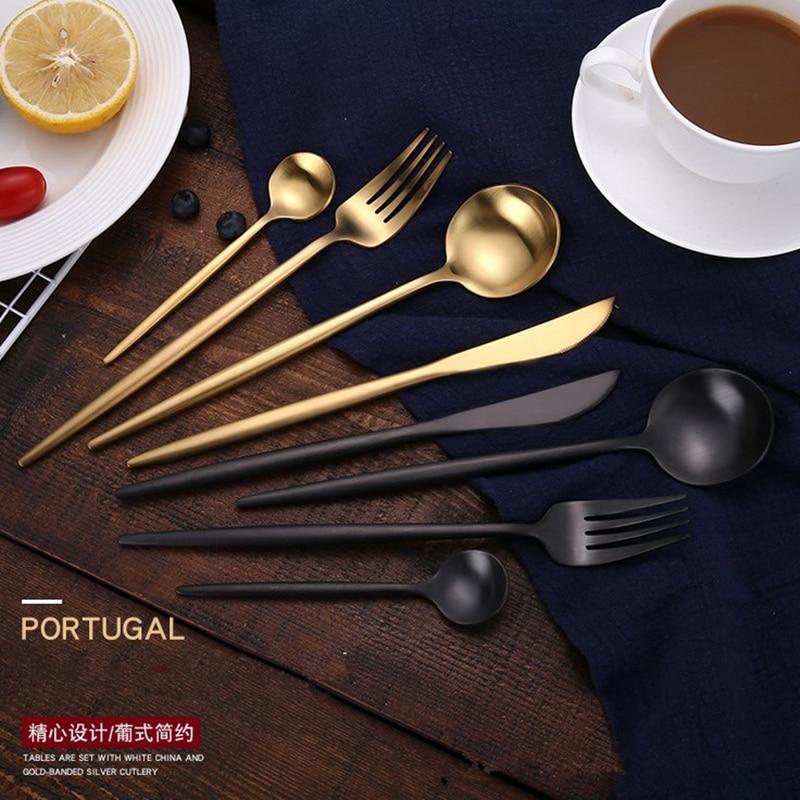 KTL 24 قطع الذهب الفضيات مجموعة أسود مجموعة أدوات المائدة 18/10 أدوات مائدة من فولاذ لا يصدأ سكينة عشاء شوكة المجارف مجموعة أدوات المائدة-في أطقم أدوات المائدة من المنزل والحديقة على  مجموعة 1