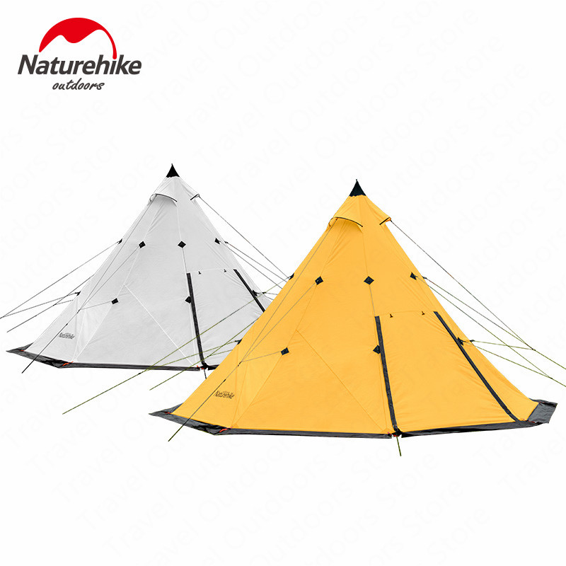 Naturehike Pyramid Camping Tent 5-8 Persons Windproof Rainproof Camping Large Space Family Tent Hiking Tourism Tent