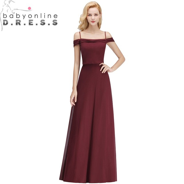 Sexy Off Shoulder Long Bridesmaid Dresses  Boat Neck Sleeveless Chiffion Dress Long Dress For Wedding Party for Woman