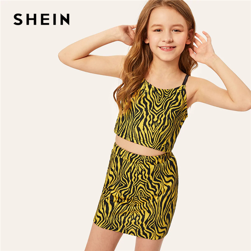 SHEIN Kiddie Crop Zebra Print Cami Top And Skirt Girls Clothes 2019 Summer Streetwear Sleeveless Teenager Girl Clothing Sets jungle print crop tank top and pleated shorts co ord