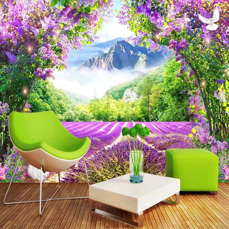 Lavender Flower Vine 3D Photo Mural Wallpaper Wall Decals Living Room Sofa Bedroom Home Decor Sticker Waterproof Canvas Painting