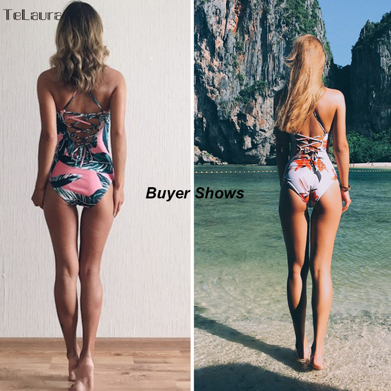 2017 Sexy One Piece Swimsuit Women Swimwear Print Bodysuit Crochet Bandage Cut Out Beach Wear Bathing Suit Monokini Swimsuit XL 5