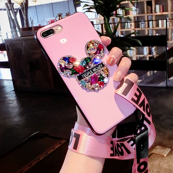 3D Bling mick For iPhone X lovely Luxury Rhinestone Diamond case for iphone 8 7 6 6S plus Girl lover gift handmade case +strap iPhone
