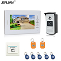 JERUAN 7 INCH Video Intercom Door Phone System With 1 White Monitor 1 RFID Card Reader HD Doorbell Camera In Stock