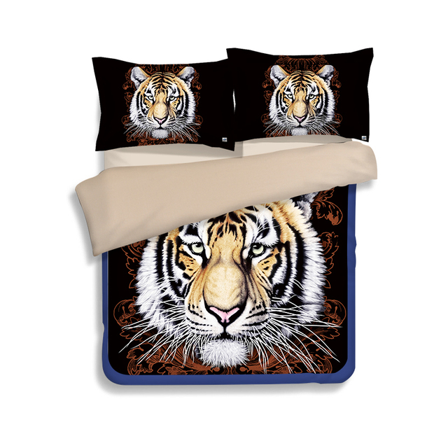 3d Tier Tiger Lion Cheetah Pfau Muster Bettbezug Flache Bettlaken