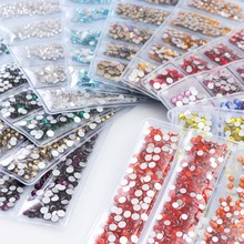 1728pcs Glass Multi-size Crystal Nail Rhinestones Set Flatback Glitter Strass 3D Nail Art Decorations For Nail Jewelry