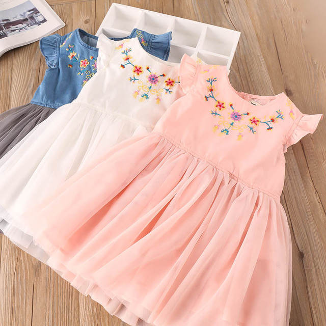 Everweekend Kids Girls Tulle Floral Embroidered Party Dress Summer ...