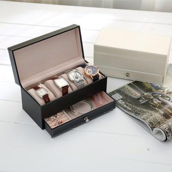 4 grilles Rectangle en cuir montre boîte boîte à bijoux avec tiroir maquillage organisateur montre bijoux cercueil boîte de rangement saat kutusu chaud