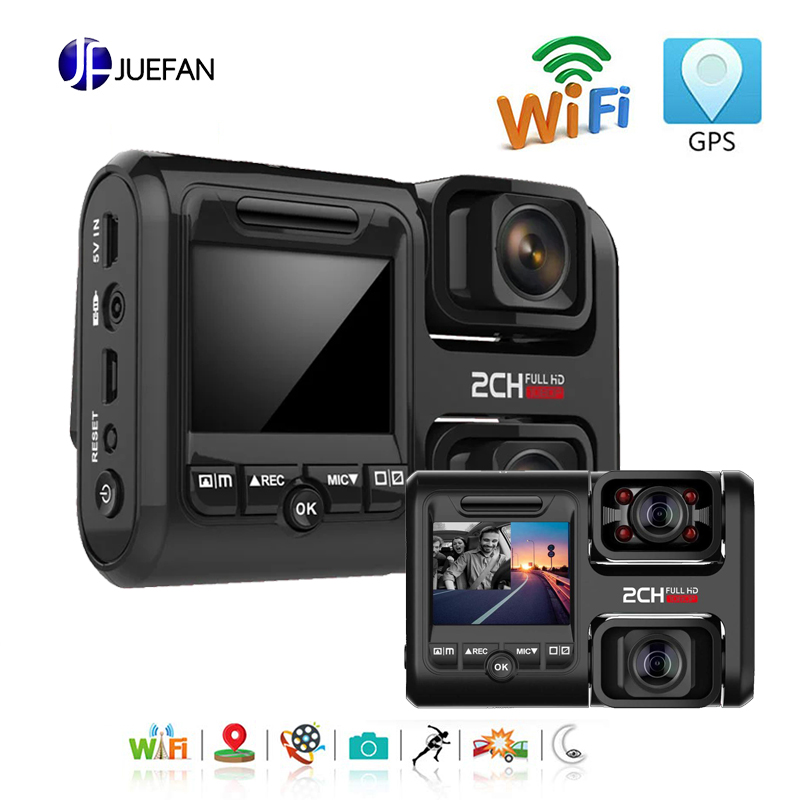 JUEFAN Dual Dash Cam WiFi GPS 1080P Front and Rear Car Driving Recorder with 2.0 LCD Display 170° Wide Angle Night Vision