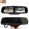 Sinairyu 4.3 Inch Dual HD Display Screen Car Rear View Monitor Interior Mirror Monitor for Rear View Camera 4 CH Video Input