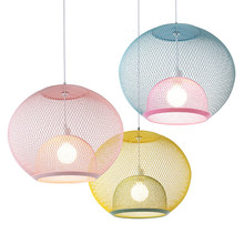 Post modern simple nordic coffee shop colorful pendant lights restaurant Iron net single head droplight foyer bedroom LED lamp