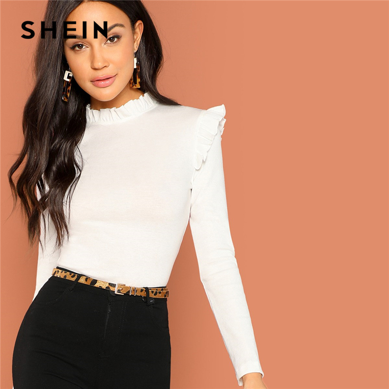 SHEIN Modern Lady White Slim Fit Frill Trim Solid Stand Collar Long Sleeve Pullovers Tee 2018 Autumn Campus Women Tshirt Top