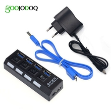 4 Port USB Hub 3.0 Super Speed USB 3.0 HUB Splitter On/off Switch with EU/US Power Adapter + Cable for PC Laptop Macbook