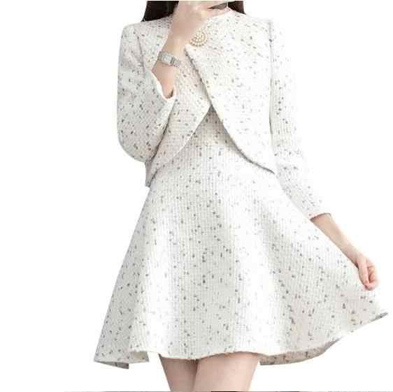 2019 Outono Inverno Tweed 2 Pedaço Definir Mulheres Terno Elegante Pérola Beading Jaqueta Curta Mistura De Lã Sem Mangas Colete Vestido DV67
