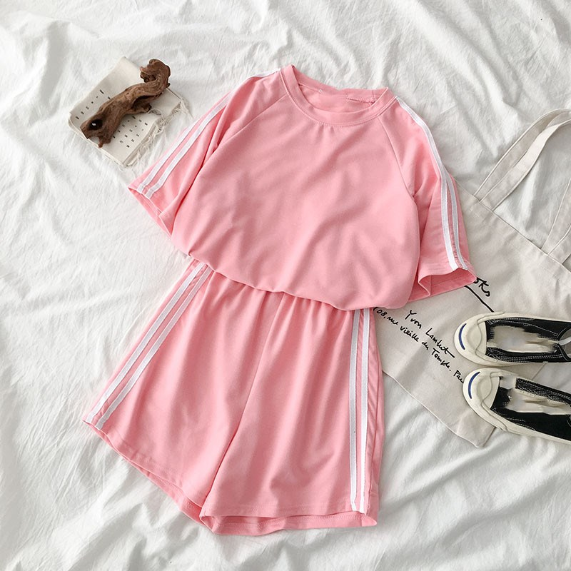 Casual Tracksuit Summer Matching Sets Soild Short Sleeve T-shirt and Side Striped Shorts