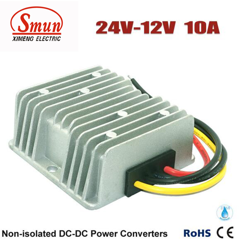 Waterproof DC DC Step Down Converter Reducer 24V to 12V 10A Buck Module Car Power Converter Regulator waterproof regulator module step up dc 10v 12v 18v to dc 19v 15a 285w for solar power system voltage converter transformer