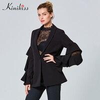 Kinikiss Women Black Fashion Suit Blazer Ruffled Long Sleeve Single Button Blazer Ladies Runway Style Office