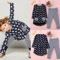 Baby Girls Clothes Fashion Cute Toddler Cartoon Rabbit Print Pocket Dress and Striped Leggings 2pcs Kids Clothing Set
