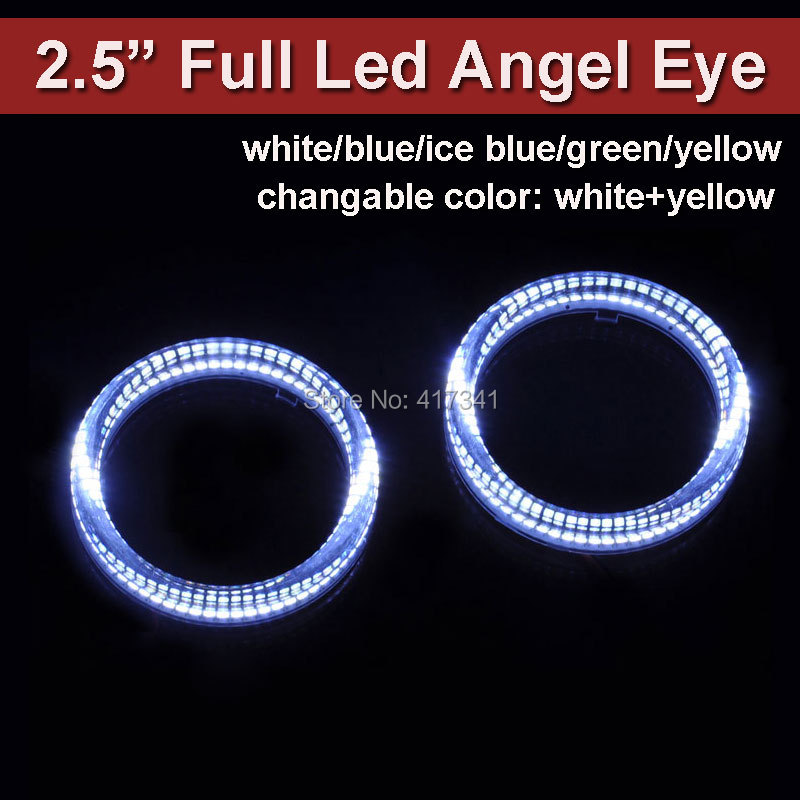 Full LED Angel Eye Super Bright 2.5 Halo Ring White/blue/red/green/yellow/white n yellow for Auto Headlamp Retoritting free shipping 4rings full circle ccfl angel eye ring for wagon frv with red blue yellow green purple white orange colors