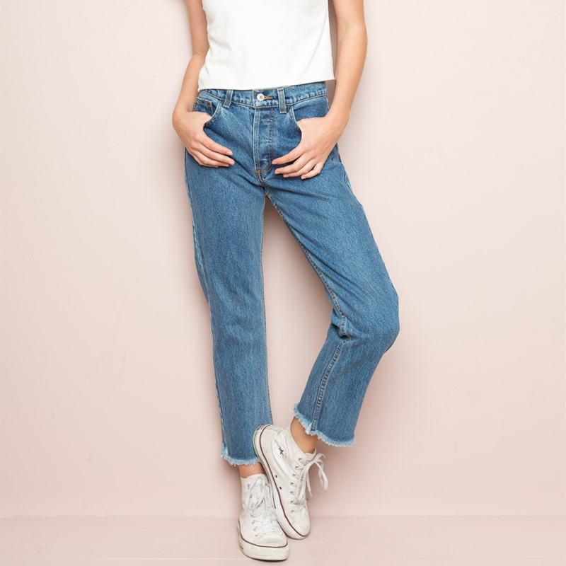 Women DANNY DENIM Jeans with Frayed Hems Girl's High Waist Cropped Jeans with Raw Hem