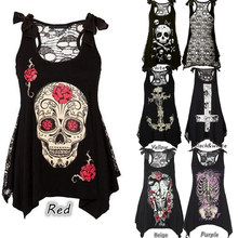 Wipalo HOTsale Summer Plus Size New Women T-Shirt Sexy Skull Print sleeveless Tee Shirt Lace Hollow Out Black female Tee Tops(China)