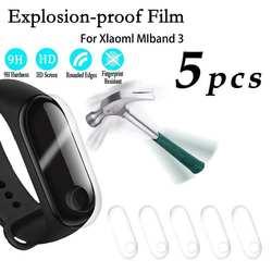 5 шт. умный Браслет для Xiaomi Mi band 3 Защитная пленка высокой четкости неизогнутый край стальная жесткая закаленная пленка